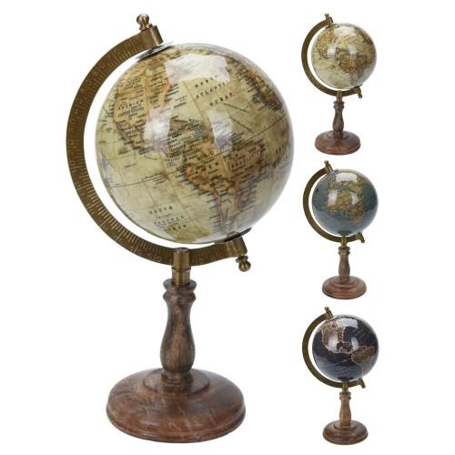 Глобус настольный, метал Н=21,5см, латунь
