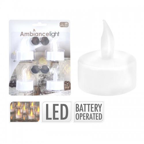 Набор свечей мерцающих из 4-х шт. д=3,8см с ЛЕД батарейка 4X СR2032